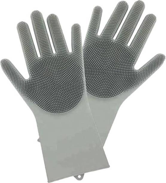 Benison India Shopping Silicone Dish Washing Gloves, Silicon Cleaning Gloves, Silicon Hand Gloves for Kitchen Dishwashing and Pet Grooming, Great for Washing Dish, Kitchen, Car, Bathroom Wet and Dry Glove Set