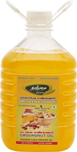 Thanjai iyerkai WOODEN COLD PRESSED PEANUT OIL 3 LITRE 100% NATURAL Groundnut Oil Plastic Bottle