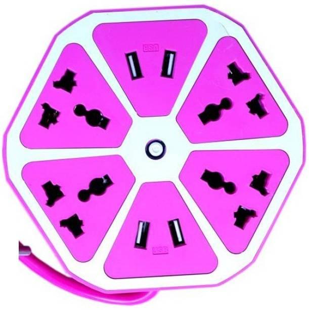 Crunk Hexagon Shape Socket USB Charger( purple-08 ) 8 A Three Pin Socket