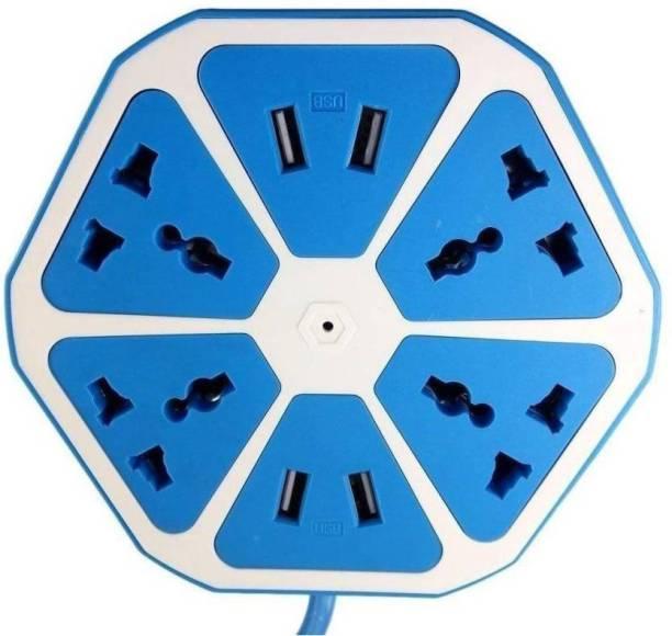 TELESHIELD Hexagon Shape Socket USB Charger( Blue-13 ) 8 A Three Pin Socket