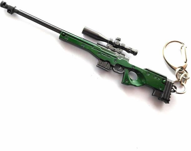 SHIBU AWM Military Skin Weapon with 8 X Scope Weapon Gun Pendan Key Chain & Key Ring for Bikes, Cars, Bags, Home, Cycle, Men, Women, Kids, Boys Key Chain