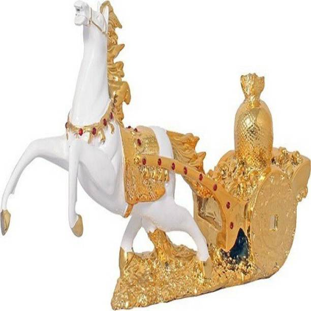 9facts Fengshui Victory Horse / Pet Animal Gold plated Statue Home Decorative Showpiece  -  21 cm