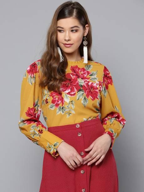 HARPA Casual Cuffed Sleeve Printed Women Yellow Top