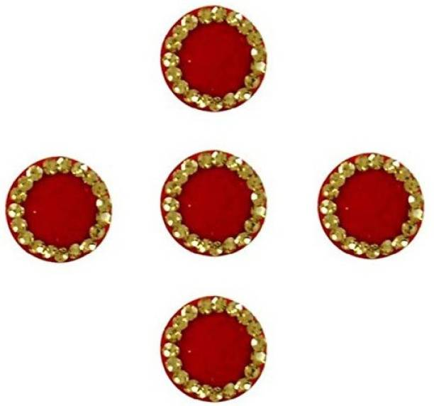 BEAUTY GOLD Red Designer Round Bindis for Women and Girl Forehead Red Bindis