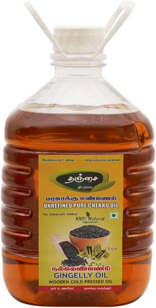 Thanjai iyerkai WOODEN COLD PRESSED GINGELLY OIL 3 LITRES Sesame Oil Plastic Bottle
