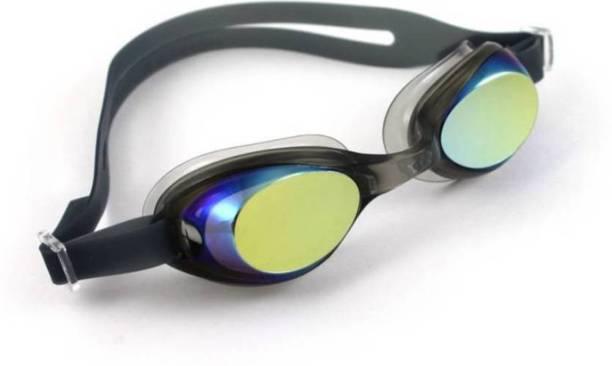 Optimus Unisex Anti UV Anti Fog Shield Wide Vision Swimming Goggles With Ear Plugs Swimming Goggles