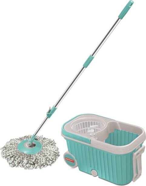 Spotzero by Milton Elite Spin Mop with Bigger Wheels & Auto Fold Handle for 360 Degree Cleaning (Aqua Green, Two Refills) Mop Set