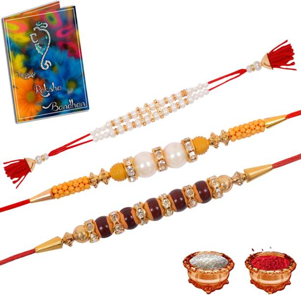 Gift4You Designer Rakhi, Greeting Card, Chawal Roli Pack  Set