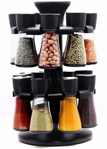 Neki 360 Degree Revolving Shape Transparent Spice Rack, Container Spice Stand For Kitchen Storage Container Rack Sets Spice Racks Containers Namak Dani Tikka Pepper Oregano Chilli Flakes Storage Spices Box (Black) Revolving Spice Rack Masala Rack Spice Box Masala Box Masala Container Spice Designer Stand Set Multipurpose Revolving Plastic Spice Rack Storage Rack Jar Condiment Set (1 Stand,16 Plastic Bottles With 2 in 1 Cap) 1 Piece Salt & Pepper Set