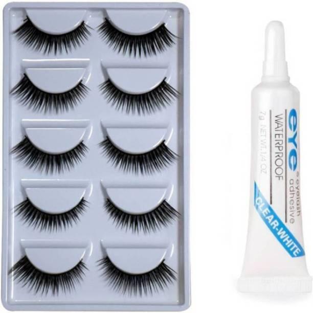 TRS Eyelashes Pack of 5 Pair With Eyelash Adhesive Glue (Pack of 6)