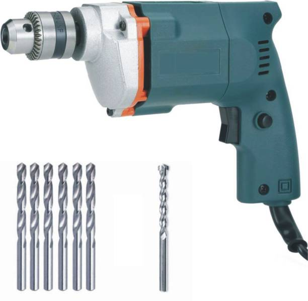 BUILDSKILL 10MM Professional Powerful Heavy Drill Machine with 7 High Quality Bits BED1100-Bluebits Pistol Grip Drill