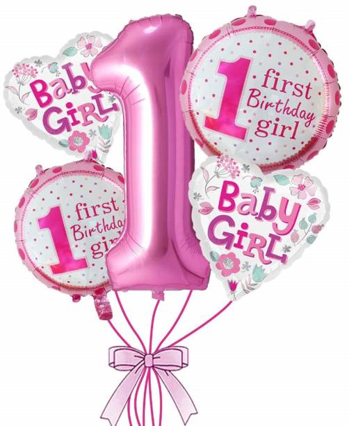 AARK PLANET Solid Printed First Birthday girl Air-Toy-Foil-Helium Balloons For Birthday Balloon