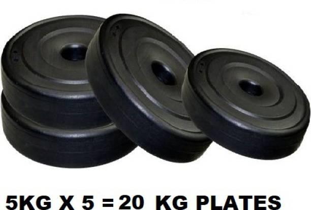 COMPASS Weight Plate Set 5 kg x 4 Pc (Each 5 kg)=20 KG Black Weight Plate