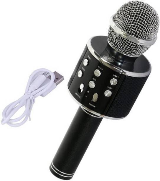 STAR WORLD WS-858 Wireless Handheld Bluetooth Mic with Speaker (Bluetooth Speaker) Audio Recording and Karaoke Feature Microphone Handheld 858