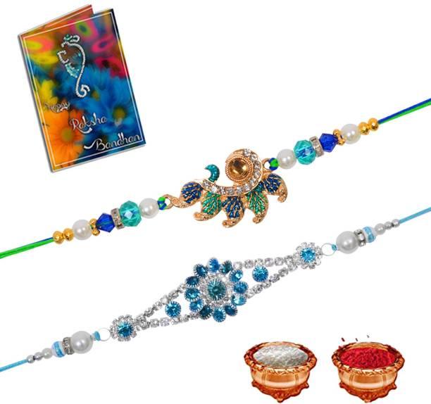 Youth Style Rakhi, Greeting Card, Chawal Roli Pack  Set