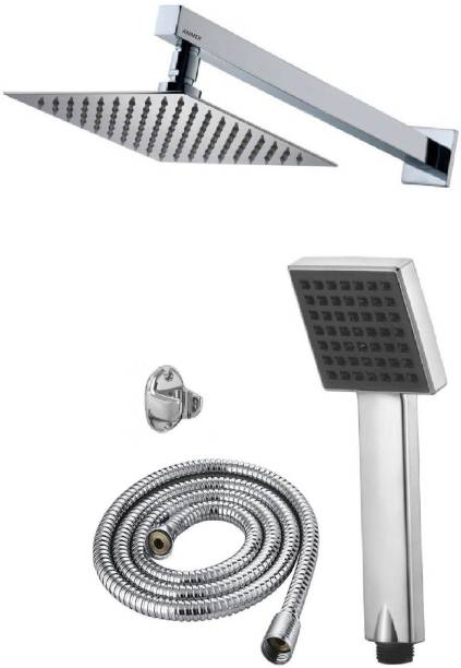 ANMEX 12x12 (12inch) Ultra Slim Rain Shower Head with 24inch Arm Plus TeleBlack Rain Spray Hand Shower with 1.5mtr SS Shower Tube and Wall Hook