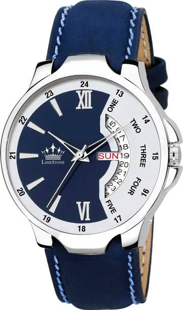 LIMESTONE LS2821 Bleed Blue Day and Date Functioning Strap Adult Quartz Analog Watch  - For Men