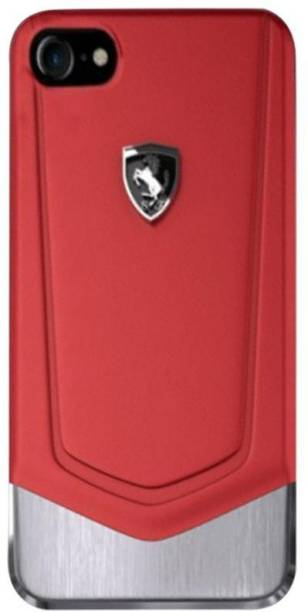 Ferrari Back Cover for Apple iPhone 7/ iPhone 8 Moranello Series Luxurious Leather + Metal Case