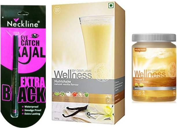 Oriflame Sweden Wellness Nutrishake (Vanilla, 500 g) and Omega 3 necline kajal