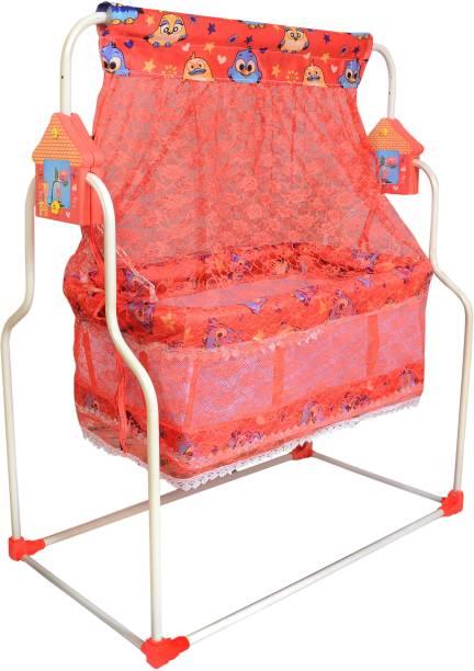 Childcraft Newborn Baby Cradle, Swing, Buggi, Jhula, Palna, Crib with Long Mosquito Net Bassinet Bassinet