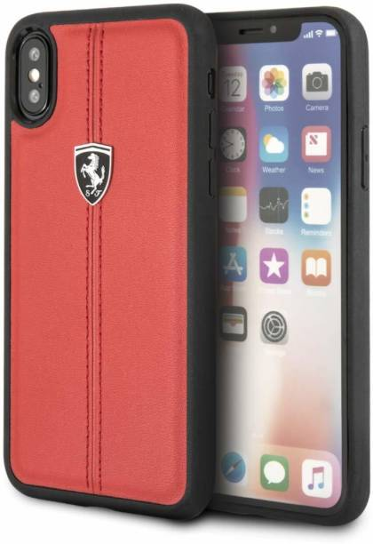 Ferrari Back Cover for Apple iPhone XS Max Vertical Contrasted Stripe - Heritage leather Hard Case Limited Edition