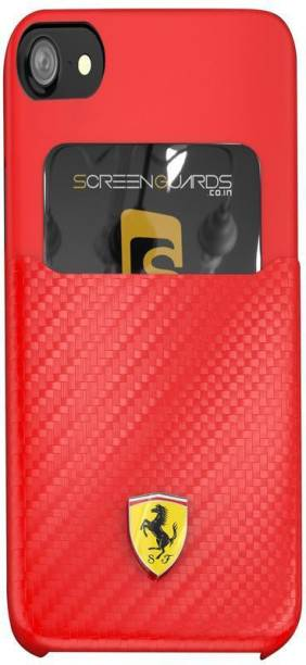 Ferrari Back Cover for Apple iPhone 7/ iPhone 8 SP America Series Carbon Fibre Finish - inbuilt Credit card holder