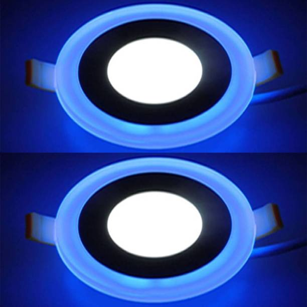 GALAXY 6 watt (3+3) LED Round Panel Light Ceiling POP 3D Effect Lighting (Double Color)Blue & White pack of 2 Recessed Ceiling Lamp