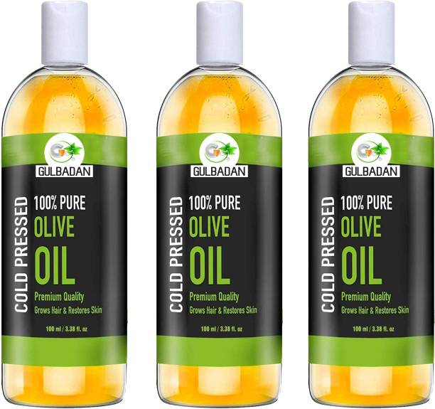 GULBADAN Organics 100% Pure Extra Light Olive Oil (Pack of 3) Hair Oil