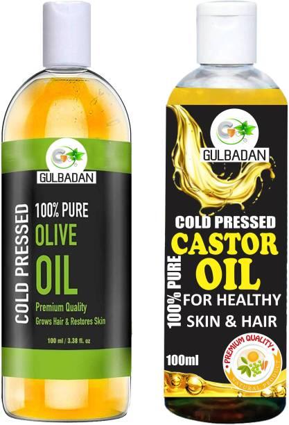 GULBADAN Organics 100% Pure Olive Oil and Castor Oil Hair Oil