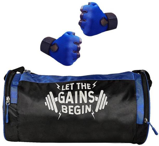 5 O' CLOCK SPORTS Combo of Let The Gains Begin (Purple) Gym Bag, and Gloves (Blue) Gym Gym & Fitness Kit