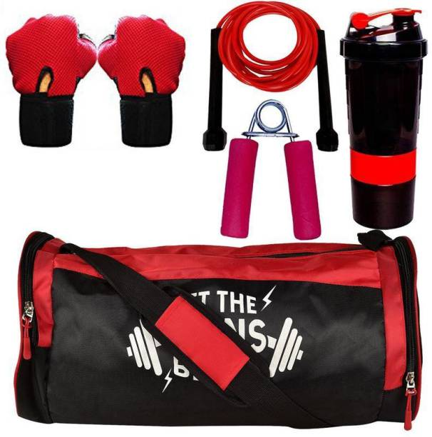 5 O' CLOCK SPORTS Combo of Let The Gains Begin (Red) Gym Bag, Gloves (Red), Spider Shaker Gym & Fitness Kit