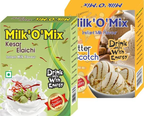 Milk'O'Mix Kesar Elaichi and Butterscotch Flavored Milk Powder