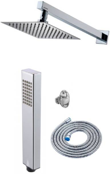ANMEX 12x12 (12inch) Ultra Slim Rain Shower Head with 24inch Arm Plus Arctic Hand Rain Shower with 1.5mtr SS Tube and Wall Hook