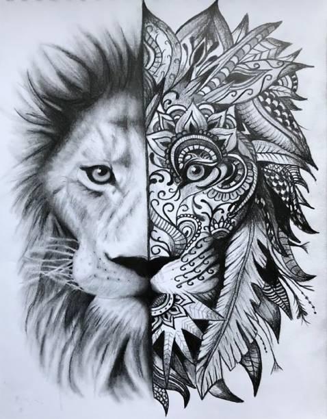 voorkoms half lion face tattoo