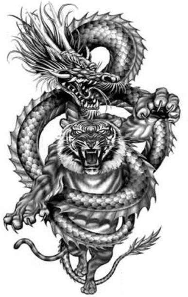 voorkoms dragon tiger body temporary tattoo