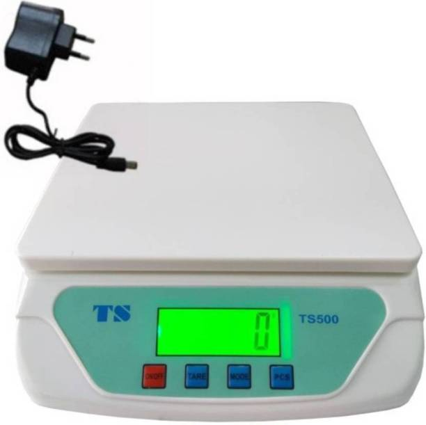 NIBBIN Compact Scale With Backlight 30 kg with Adaptor Digital Multi-Purpose Kitchen Weighing Scale (TS500) WHITE Weighing Scale