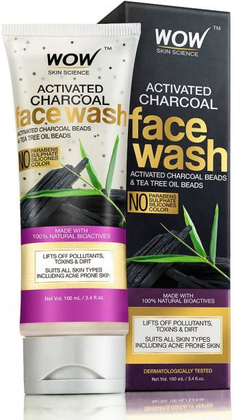 WOW SKIN SCIENCE Activated Charcoal -with Activated Charcoal Beads-No Sulphates & Parabens Face Wash