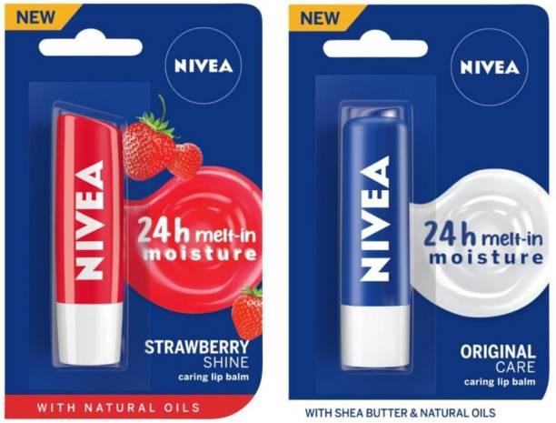 NIVEA Lip Care, Fruity Shine Strawberry & Lip Care, Essential Care Strawberry