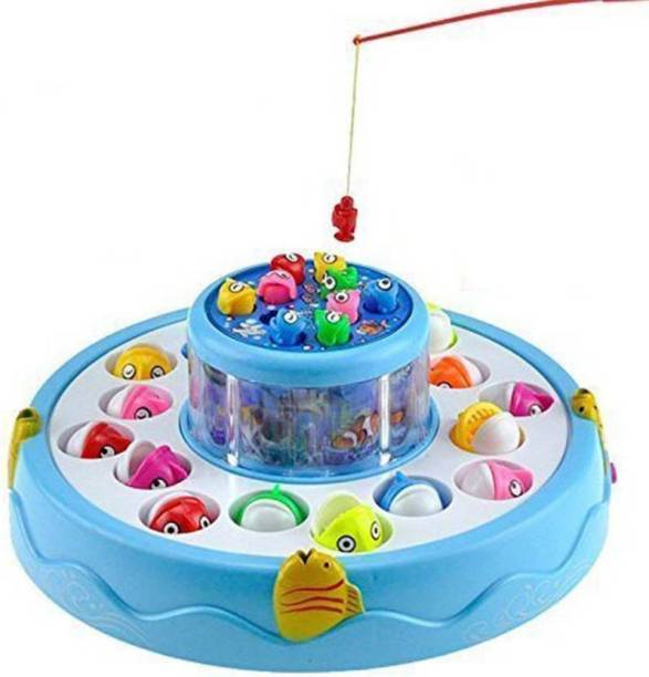 Shopjamke Fishing Electric Rotating Magnetic Fish Catching Game With Musical Lights (Multicolor)