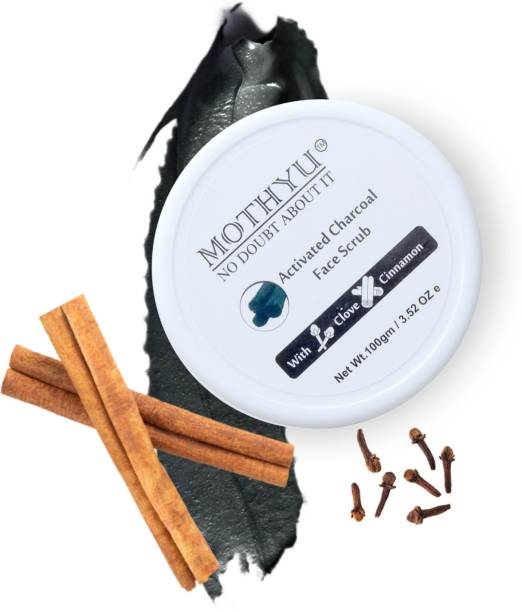 MOTHYU Activated Charcoal face Scrub - for Exfoliation, Anti-acne & Blackhead Removal face cleanser  Scrub