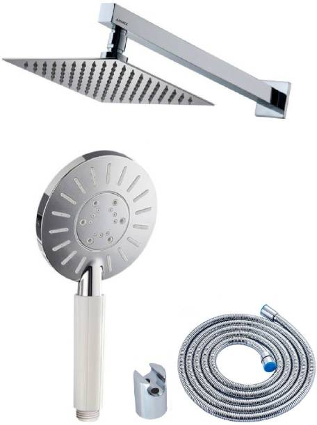 ANMEX 10x10 (10inch) Ultra Slim Rain Shower Head with 24inch Arm PLUS Adjustable APPL Rain Spray Hand Shower with 1.5mtr SS Shower Tube and Wall Hook