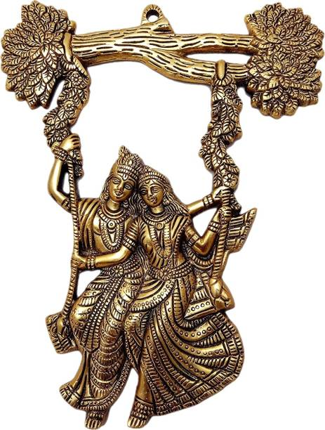 Metal Handicrafts Radha Krishna Tree Jhula Wall Hanging Decorative Showpiece  -  32 cm