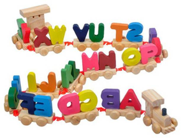 CrazyCrafts Crazy Crafts Wooden Alphabet Letters Train (A-Z) English Vocabulary Building Authfort Train Set Early Educational Toys Kids