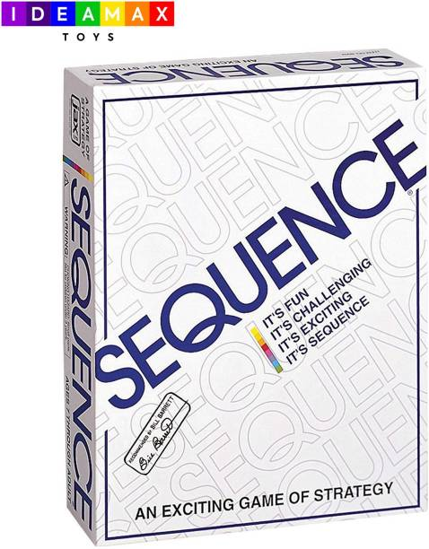 IDEAMAX Sequence Board Game With Playing Board, Playing Cards and Red, Green & Blue Chips Strategy & War Games Board Game