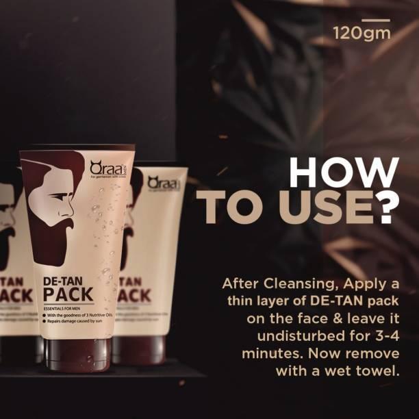 Qraa Men Hair & Beard wax Black 100gm + De-Tan Pack for Men 120gm + Gold Face And Beard Oil 30ml
