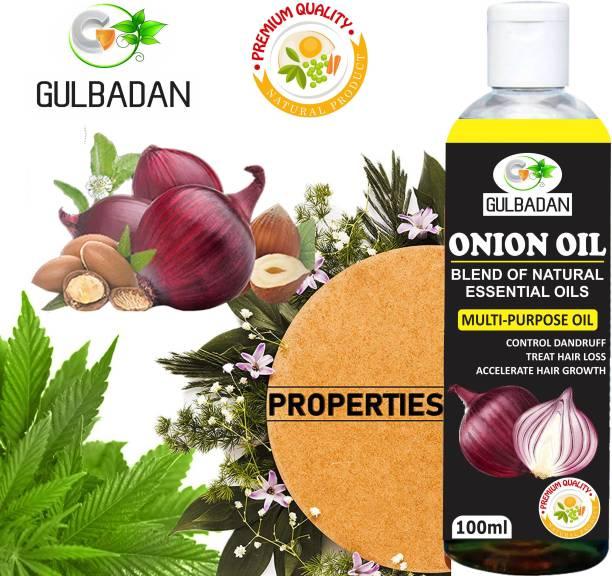 GULBADAN Organics ONION Herbal Hair oil- Blend of 14 Natural Oils For Hair Hair Oil
