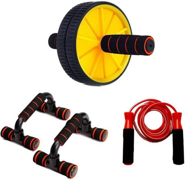 Proactive Sports & Fitness Ab Wheel/roller Exerciser & Dip Stand with Jump Rope Gym & Fitness Kit