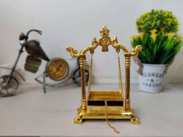 CraftVatika Metal Swing Laddu Gopal Jhula With Golden Polish For Gods & Goddesses Hindola Parna Jhula For God Idols Iron All Purpose Chowki