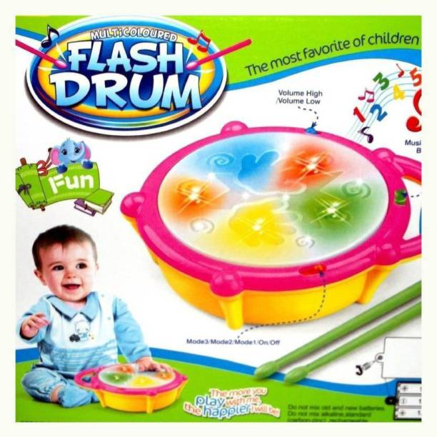 GLOBAL Kids Multicoloured Flash Drum Set With Music and Lights Electronic Touch Flash Visual 3d Lights