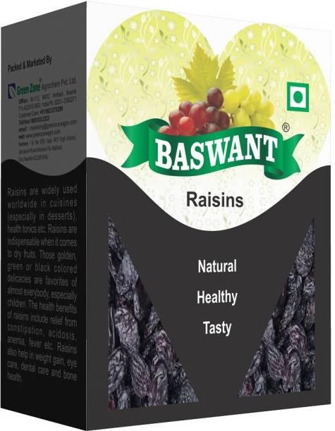 Baswant Jumbo Seedless Black Raisins | Kishmish | Dry Grapes - 500 grams Raisins